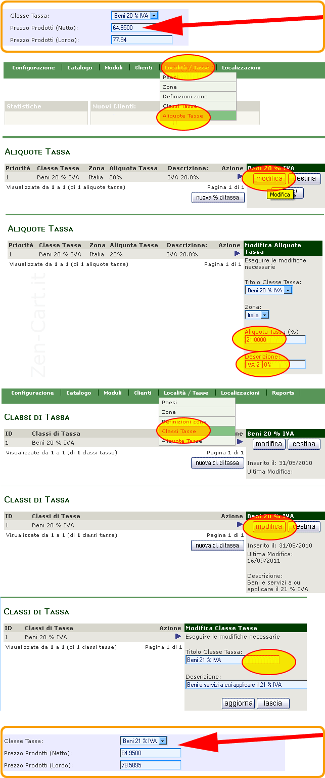 How to aggiornamento IVA Zen Cart